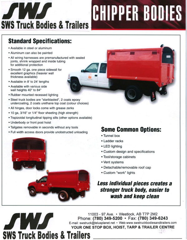 Sws Chipper Bodies Sws Truck Bodies Amp Trailers